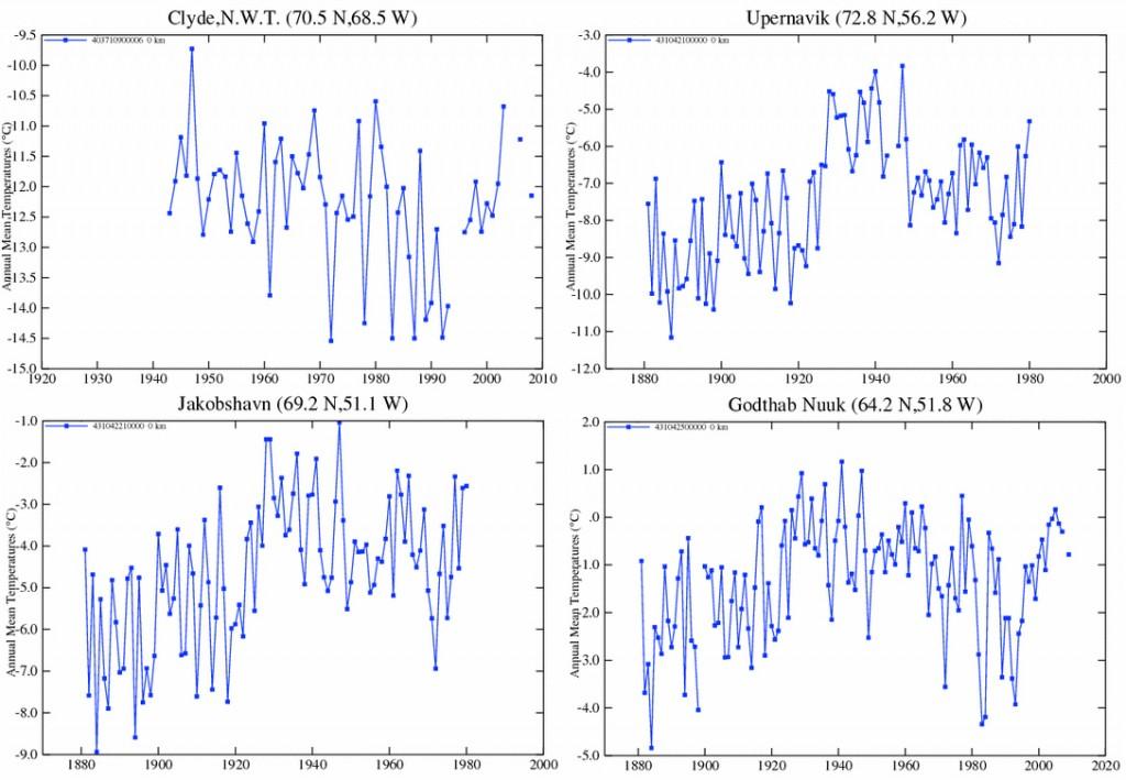 Stationsmessungen in der Arktis rund um die Baffin See (Quelle: NASA GISS)