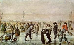 Das Gemälde IJsvermaak von Hendrick Avercamp zeigt Menschen auf einem zugefrorenen Kanal in den Niederlanden im kalten Winter 1608. Heute dagegen sind die Kanäle im Winter meist eisfrei.