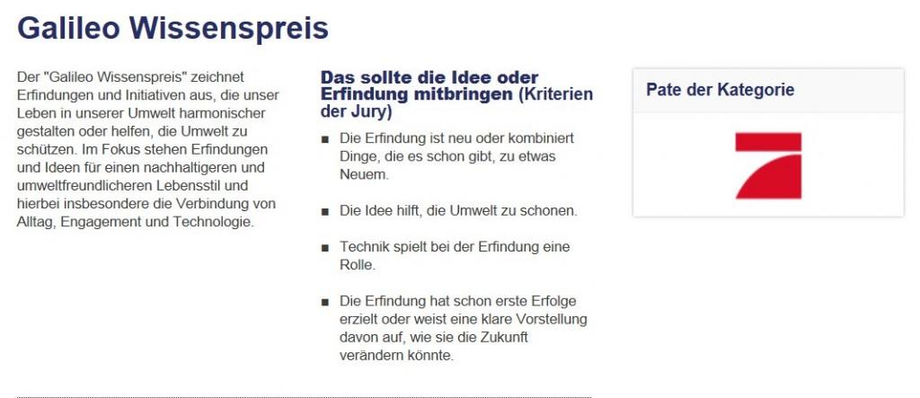 Vorgaben für den Galileo-Wissenspreis: durch den DFR alle erfüllt