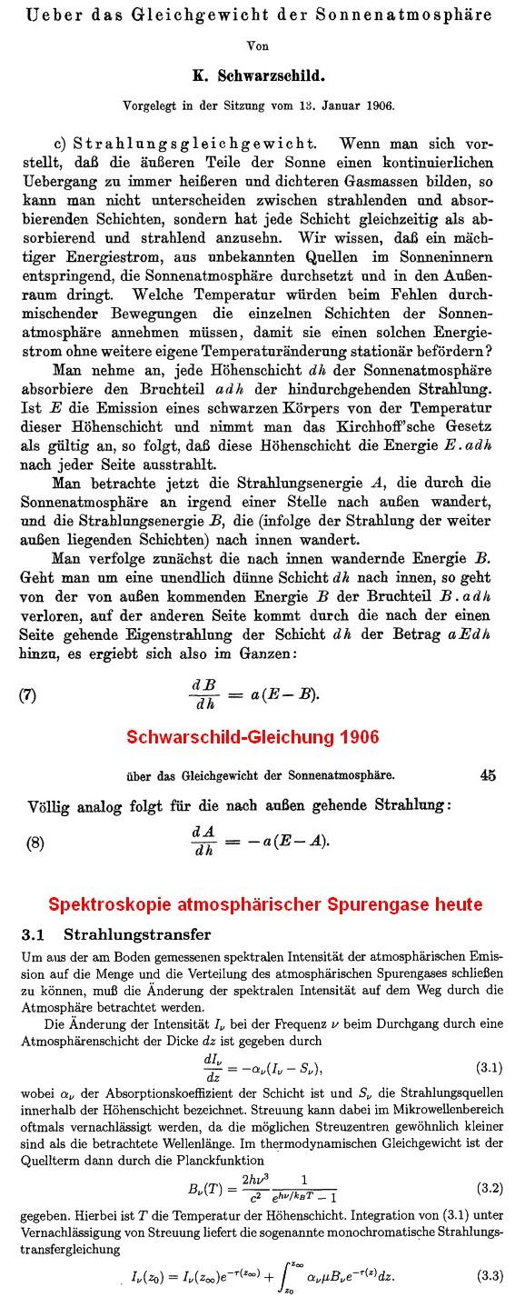 Strahlungstransfer-Schwarzschild-Spektroskopie