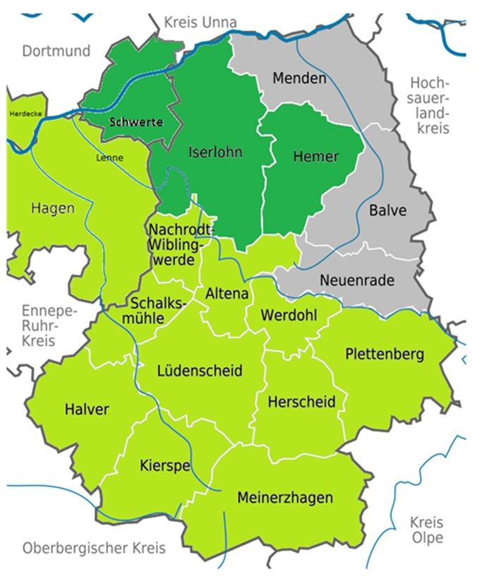 Karte des Inselnetzes (grün) mit dem Versorgungsgebiet der Enervie (hellgrün) und den nachgelagerten Netzen der jeweils selbständigen Stadtwerke Hemer, Iserlohn und Schwerte (dunkelgrün). Balve, Menden und Neuenrade (grau) sind weitere Städte/Gemeinden im Märkischen Kreis.