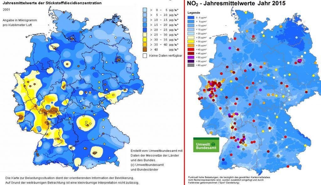 Bild 1. Der Vergleich der NO2-Jahresmittelwerte zeigt ungeachtet der unterschiedlichen Farbskalen, dass die Werte in der Umgebungsluft seit 2001 deutlich zurückgegangen sind (Grafiken: UBA)