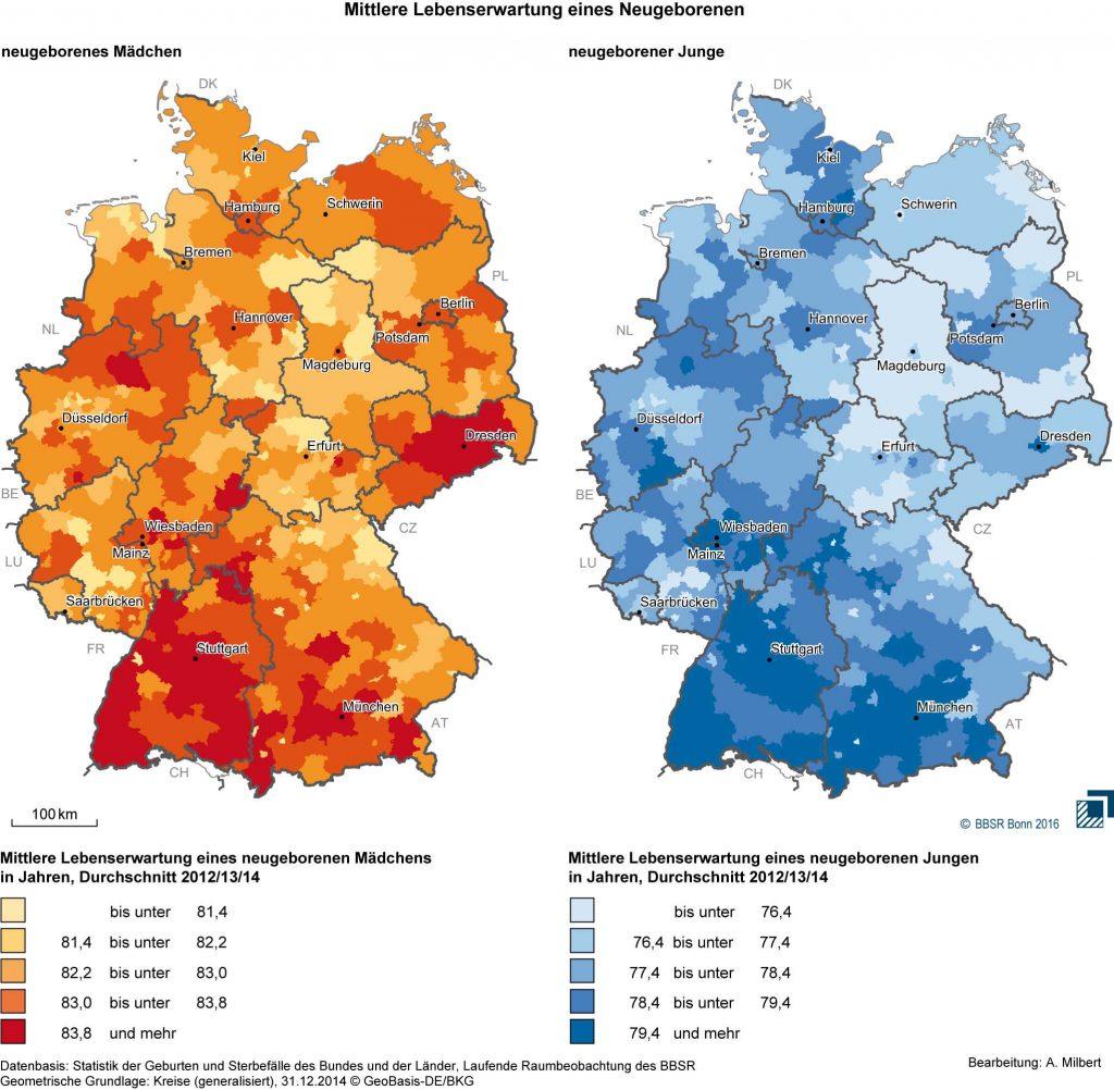 Bild 2. Unterschiede in der Lebenserwartung von neugeborenen Jungen und Mädchen in den verschiedenen Regionen Deutschlands (Grafik: [BBSR])