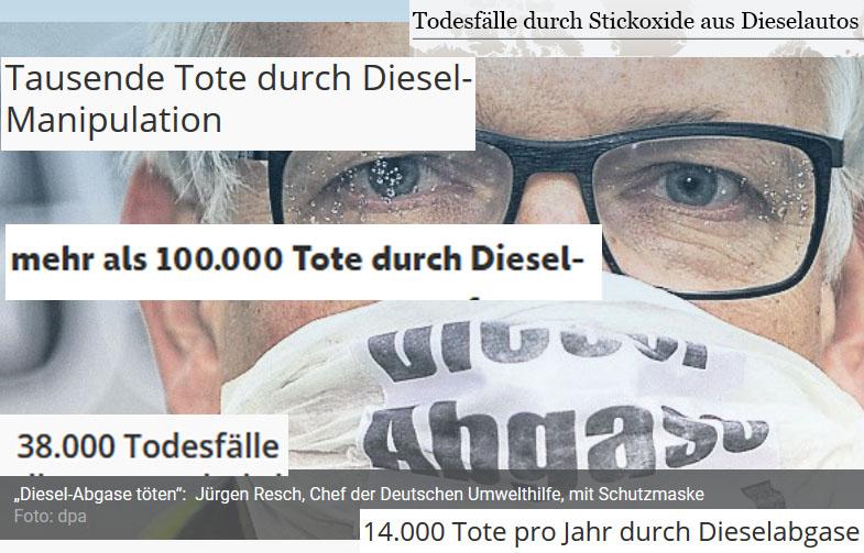 """Bild 4. Wenn Jürgen Resch, Chefagitator der """"Deutschen Umwelthilfe"""", gegen Deutschlands Autoindustrie in den Krieg zieht, kommt Unterstützung aus allen medialen Rohren, und dubiose US-Studien werden als Tatsachen dargestellt, während wirkliche Fachleute kaum zu Wort kommen"""